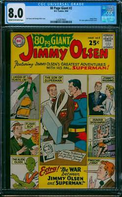 Eighty Page Giant # 2  The War Between Jimmy & Superman !  CGC 8.0 scarce book !