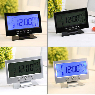 World Time Modern Digital Alarm Clock LCD LED Backlight Snooze Large Digit Desk