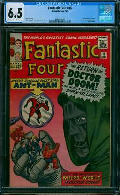 Fantastic Four # 16  The Return of Doctor Doom !  CGC 6.5 scarce book !