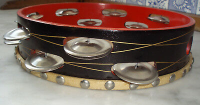 VINTAGE TAMBOURINE Percussion Instrument, 9.5 inches, Very Good Condition, CHINA