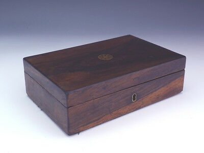 Antique Victorian Rosewood Box With Brass Inlay - Lovely!