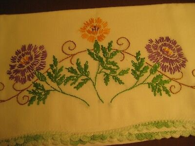 """Lovely vintage pillowcases with embroidery & crochet 29""""x 21"""""""