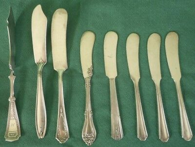 Vintage Silverplate Butter Knives Spreaders Lot Of 8