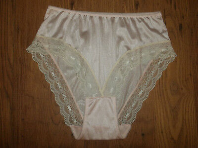 Vintage 1980s Light Pink Sensual Nylon Lacy Pantie Knickers X/L
