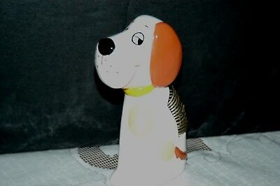 Retro Smiling Beagle Snoopy Puppy Dog Desk Letter Holder-Ceramic Metal- Japan