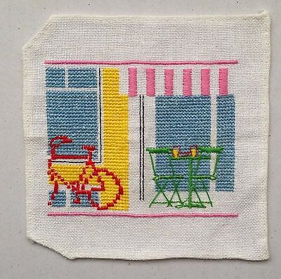 Lanarte Completed Cross stitch with instruction  - Bicycle,Table&Chairs&Canopy