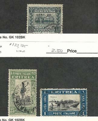 Eritrea (Italy), Postage Stamp, #52, 123, 125 Used, 1916-30