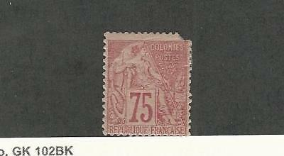 French Colonies, Postage Stamp, #58 Mint Hinged Corner Damage, 1881