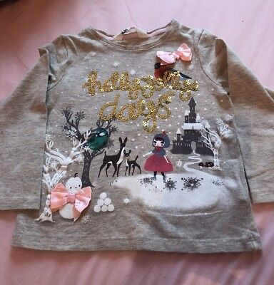 H&M Girls Long Sleeved Christmas Top. 18-24 Months
