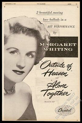 1952 Margaret Whiting photo Outside of Heaven record release BIG vintage ad