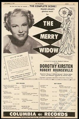 1952 Dorothy Kirsten photo The Merry Widow record release BIG vintage ad