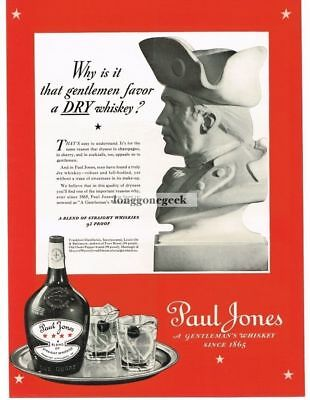 1937 PAUL JONES Whiskey Bust of John Vtg Print Ad