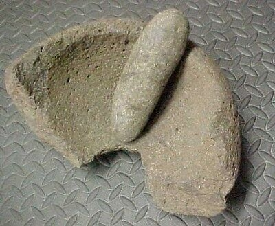Authentic Native Californian Unusual (1/2) Stone Mortar & Pestle (Deer Creek)