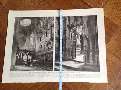Ely,s Cathedral Octagon & Chantry Chapel Of Bishop Alcock,vintage Illustration