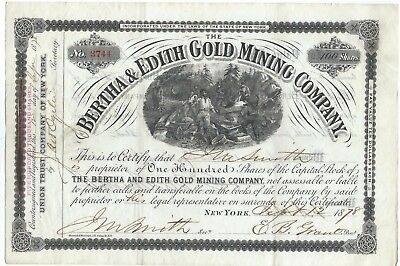 1878 Bertha & Edith Gold Mining Company stock certificate - Northern Virginia