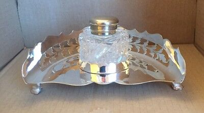 WW1 1914 Military Silver Plated & Glass Inkwell. Top Inscribed (see Images)