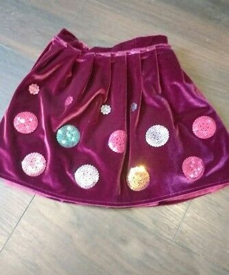 Girls Burgundy Glittery  Party Skirt - Age 3-4 years from autograph at M&S