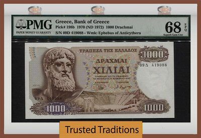 "TT PK 198b 1970 GREECE 1000 DRACHMAI ""ZEUS"" PMG 68 EPQ SUPERB GEM NONE FINER!"