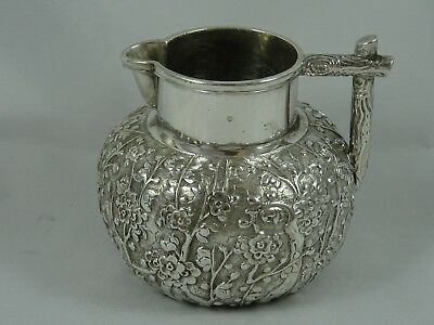 STUNNING, CHINESE EXPORT solid silver MILK JUG, c1890, 137gm