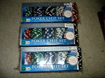 NEW Classic Games Poker Chip Set (Heavy 11.5g Las Vegas Style Tray 100 Count X 3