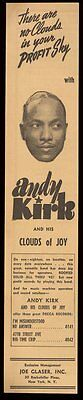 1942 Andy Kirk photo music trade booking vintage print ad