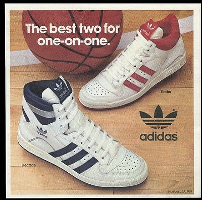 1984 Adidas Decade & Strider basketball shoe photo vintage print ad