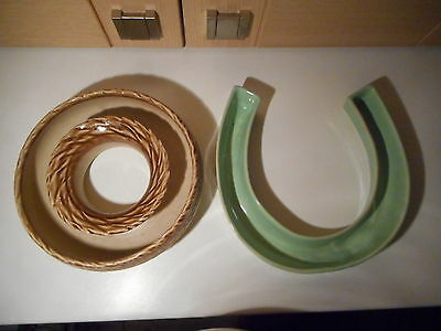 Art Deco Lovatts Langley Mill Pottery Green Horseshoe & Brown Basket Posie Bowls