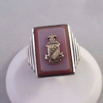 Vtg DECO STERLING SILVER TIERED GLASS TOP GOLD KAPPA SIGMA FRATERNITY RING 5.25