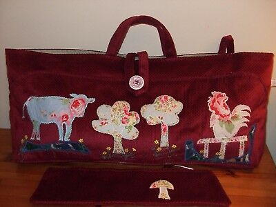 Knitting Bag Hand Made Farm Animals New Red