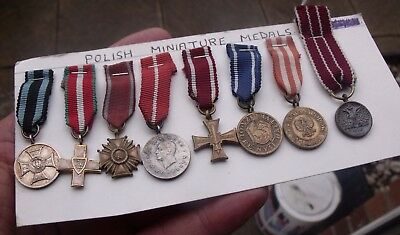 Seven Old Ww2 And Later Miniature Poland Polish Medals, Cross Of Honour Etc