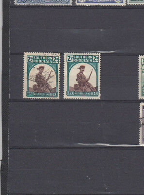 2 very nice Old Southern Rhodesia 1943 issues Hat Brim Retouched