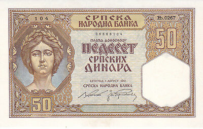 Yugoslavia Serbia 50 Dinara 1941 P.26 aUNC German occupation