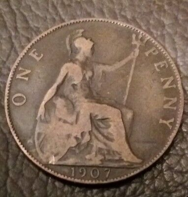 One Penny Coin (1d) issued 1907 - Edward VII