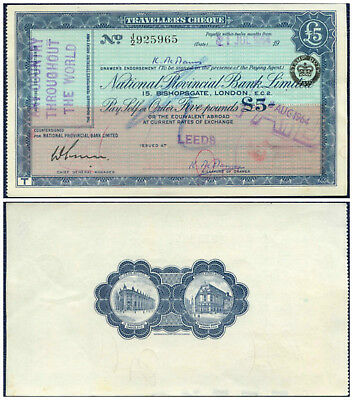 1964 NATIONAL PROVINCIAL BANK TRAVELLER'S CHEQUE : LEEDS - early reverse design
