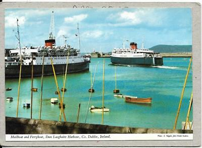 DUN LAOGHAIRE HARBOUR, Mailboat and Ferryboat, Co Dublin, postcard.