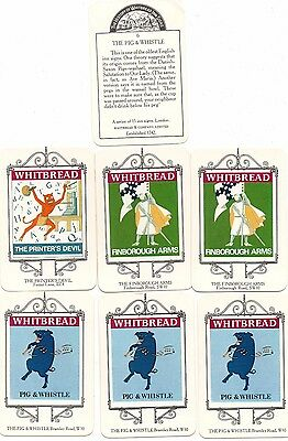 whitbread brewery trade cards x 7. history of whitbread inns.