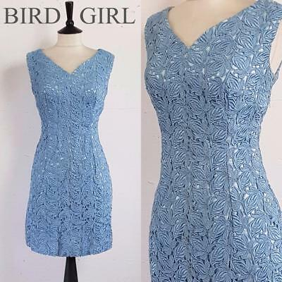Bombshell 1960S Vintage Powder Blue Floral Lace Wiggle Cocktail Dress 10-12