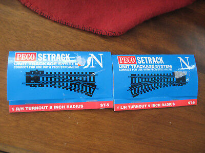 """2 N Scale Peco Setrack Left Hand and Right Hand 9"""" Radius Turnouts"""