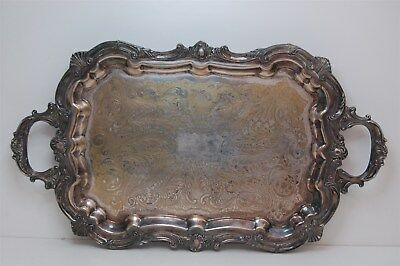Antique Eales of Sheffield 1779 Large Silverplate Ornate Footed Tray Etched