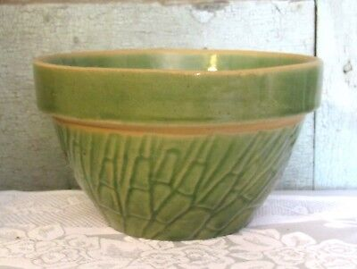 "Old McCoy Pottery Green Asparagus 6 1/4"" Yellow Ware Stoneware Bowl EXC COND"