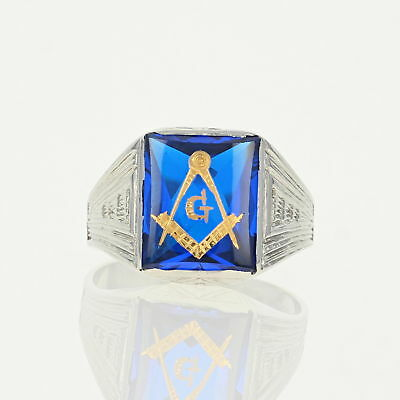 Art Deco Blue Lodge Master Mason Ring -10k Gold Synthetic Spinel Vintage Masonic