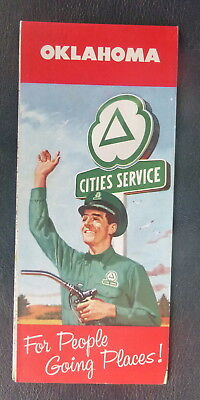 1959 Oklahoma road map Cities Service gas route 66