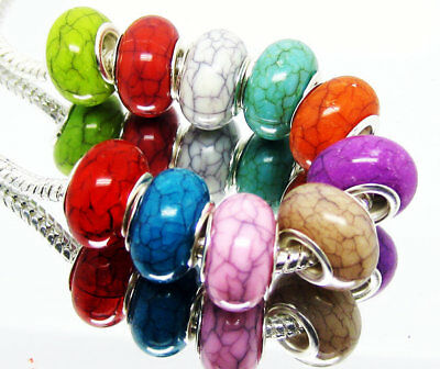 100 PCS mixed color Colorful Resin-Turquoise Beads Fits European Bracelet KM13