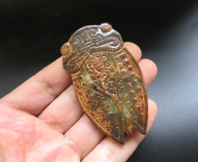 Old China hongshan culture jade hand-carved cicada amulet Pendant H1088