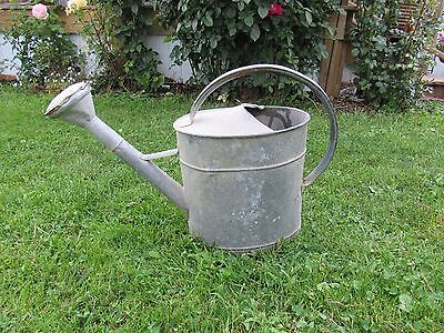Vintage Ex- Large Galvanized Metal Watering Can with Sprinkler Head**RARE**
