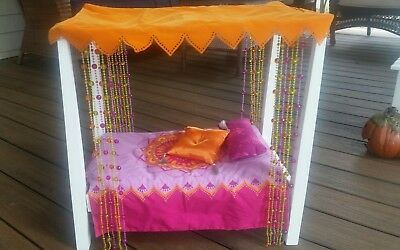 American Girl Doll Julie's Canopy Bed with accessories shown