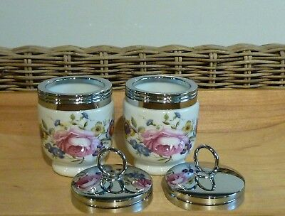 """Pair of Royal Worcester """"BOURNMOUTH"""" Egg Coddlers Std.Size --  Made in England"""