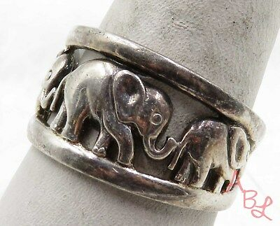 Sterling Silver Vintage 925 Elephant Filigree Dome Ring Sz 9 (5.8g) - 575748