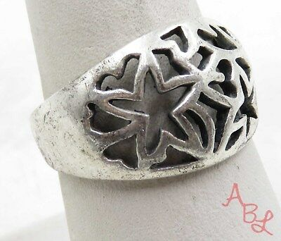 Sterling Silver 925 Filigree Heart & Star Band Ring Sz 8.75 (5.4g) - 575706