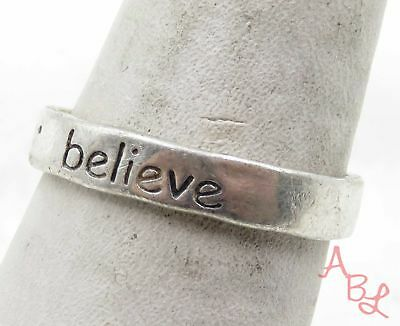 Sterling Silver Vintage 925 Believe Band Ring Sz 8 (2.7g) - 575587